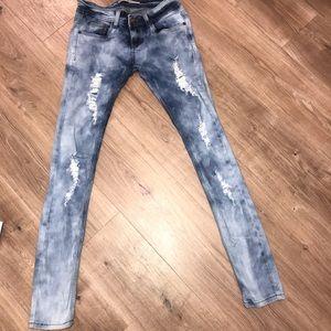 Denim - HIGH WAIST Blue distressed skinny jeans